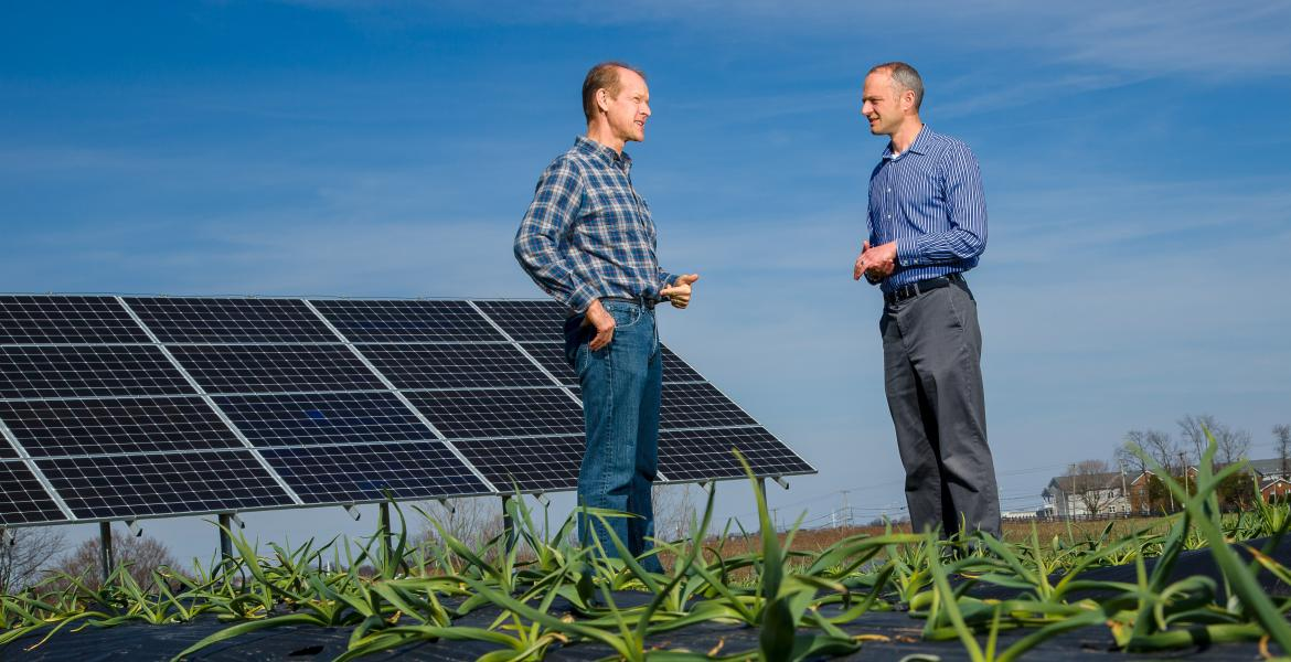 Horitculture Chair Dr. Mark Williams and Dr. Joe Dvorak stood in front of the solar array panels at South Farm.