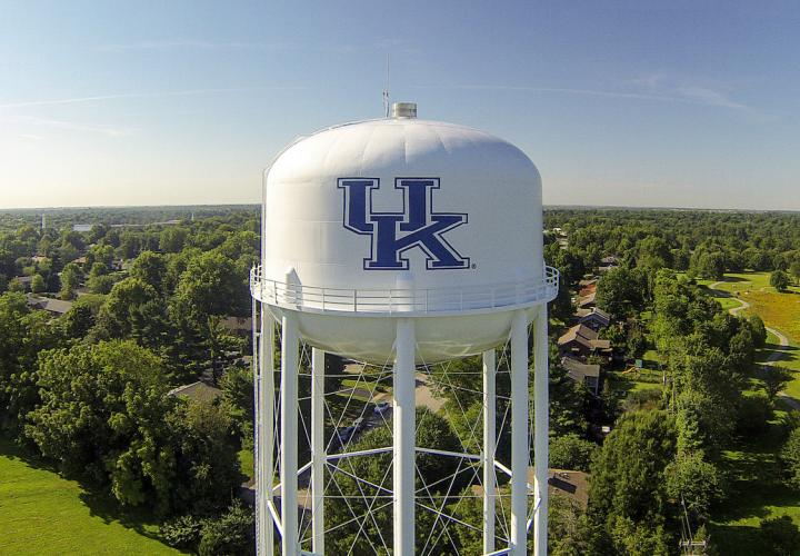 Water tower with UK logo