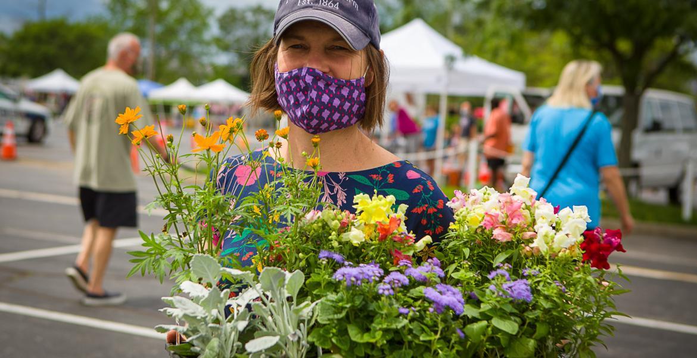 farmers market holding flowers
